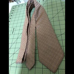 Fendi golden beige designer silk tie from Italy